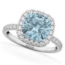 Cushion Cut Halo Aquamarine & Diamond Engagement Ring 14k White Gold (3.11ct)
