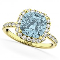 Cushion Cut Halo Aquamarine & Diamond Engagement Ring 14k Yellow Gold (3.11ct)
