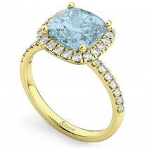 Cushion Cut Halo Aquamarine & Diamond Engagement Ring 14k Yellow Gold (3.11ct)