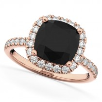 Cushion Cut Black Diamond Engagement Ring 14k Rose Gold (2.55ct)