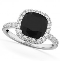 Cushion Cut Halo Black Diamond & Diamond Engagement Ring 14k White Gold 2.55ct