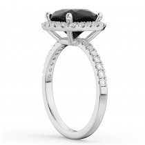 Cushion Cut Black Diamond Engagement Ring 14k White Gold (2.55ct)
