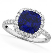 Cushion Cut Halo Blue Sapphire & Diamond Engagement Ring 14k White Gold (3.11ct)