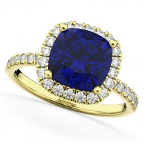 Cushion Cut Halo Blue Sapphire & Diamond Engagement Ring 14k Yellow Gold (3.11ct)