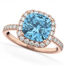 Cushion Cut Halo Blue Topaz & Diamond Engagement Ring 14k Rose Gold (3.11ct)