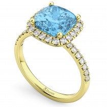 Cushion Cut Halo Blue Topaz & Diamond Engagement Ring 14k Yellow Gold (3.11ct)