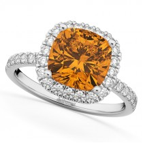 Cushion Cut Halo Citrine & Diamond Engagement Ring 14k White Gold (3.11ct)
