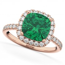 Cushion Cut Halo Emerald & Diamond Engagement Ring 14k Rose Gold (3.11ct)
