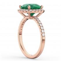 Cushion Cut Halo Emerald & Diamond Engagement Ring 14k Rose Gold (3.11ct)