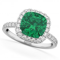 Cushion Cut Halo Emerald & Diamond Engagement Ring 14k White Gold (3.11ct)