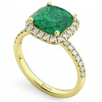 Cushion Cut Halo Emerald & Diamond Engagement Ring 14k Yellow Gold (3.11ct)