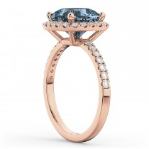 Cushion Cut Halo Gray Spinel & Diamond Engagement Ring 14k Rose Gold (3.11ct)