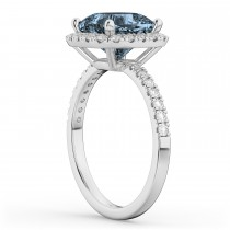 Cushion Cut Halo Gray Spinel & Diamond Engagement Ring 14k White Gold (3.11ct)