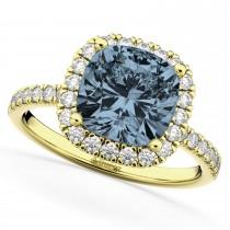 Cushion Cut Halo Gray Spinel & Diamond Engagement Ring 14k Yellow Gold (3.11ct)