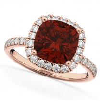Cushion Cut Halo Garnet & Diamond Engagement Ring 14k Rose Gold (3.11ct)