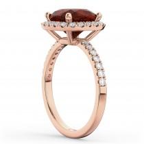 Cushion Cut Halo Garnet & Diamond Engagement Ring 14k Rose Gold (3.11ct)