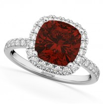 Cushion Cut Halo Garnet & Diamond Engagement Ring 14k White Gold (3.11ct)