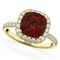 Cushion Cut Halo Garnet & Diamond Engagement Ring 14k Yellow Gold (3.11ct)