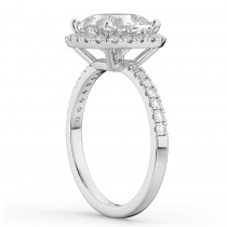 Cushion Cut Halo Lab Grown Diamond Engagement Ring 14k White Gold (2.55ct)