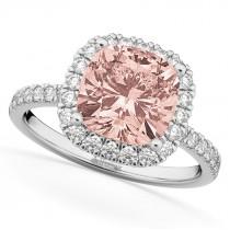 Cushion Cut Halo Morganite & Diamond Engagement Ring 14k White Gold (3.11ct)