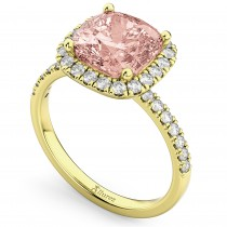 Cushion Cut Halo Morganite & Diamond Engagement Ring 14k Yellow Gold (3.11ct)