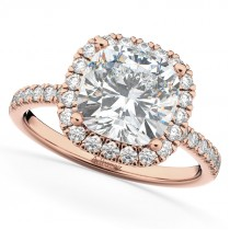 Cushion Cut Halo Moissanite & Diamond Engagement Ring 14k Rose Gold (2.66ct)