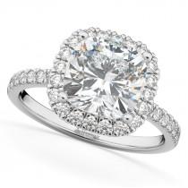 Cushion Cut Halo Moissanite & Diamond Engagement Ring 14k White Gold (2.66ct)