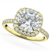 Cushion Cut Halo Moissanite & Diamond Engagement Ring 14k Yellow Gold (2.66ct)