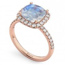 Cushion Cut Halo Moonstone & Diamond Engagement Ring 14k Rose Gold (3.11ct)
