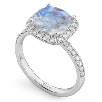 Cushion Cut Halo Moonstone & Diamond Engagement Ring 14k White Gold (3.11ct)