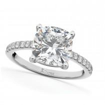 Cushion Cut Diamond Engagement Ring 14k White Gold (2.25ct)