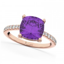 Cushion Cut Amethyst & Diamond Engagement Ring 14k Rose Gold (2.81ct)