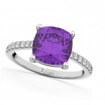 Cushion Cut Amethyst & Diamond Engagement Ring 14k White Gold (2.81ct)