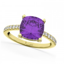 Cushion Cut Amethyst & Diamond Engagement Ring 14k Yellow Gold (2.81ct)