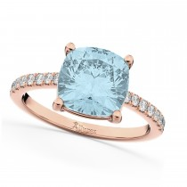 Cushion Cut Aquamarine & Diamond Engagement Ring 14k Rose Gold (2.81ct)