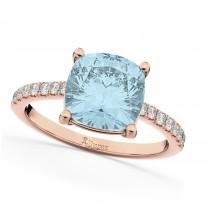Cushion Cut Aquamarine & Diamond Engagement Ring 14k Rose Gold (2.81ct)