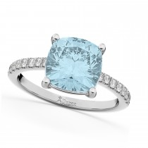 Cushion Cut Aquamarine & Diamond Engagement Ring 14k White Gold (2.81ct)