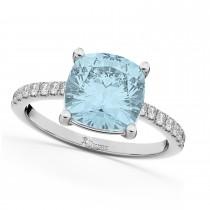 Cushion Cut Aquamarine & Diamond Engagement Ring 14k White Gold (2.81ct)