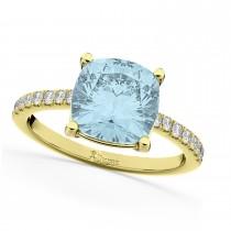 Cushion Cut Aquamarine & Diamond Engagement Ring 14k Yellow Gold (2.81ct)