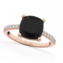 Cushion Cut Black Diamond Engagement Ring 14k Rose Gold (2.25ct)
