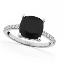 Cushion Cut Black Diamond Engagement Ring 14k White Gold (2.25ct)
