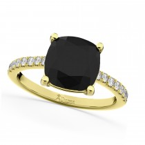Cushion Cut Black Diamond Engagement Ring 14k Yellow Gold (2.25ct)