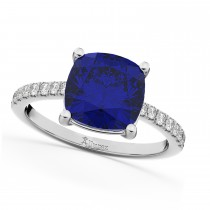 Cushion Cut Blue Sapphire & Diamond Engagement Ring 14k White Gold (2.81ct)
