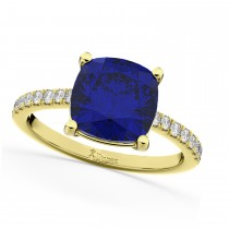 Cushion Cut Blue Sapphire & Diamond Engagement Ring 14k Yellow Gold (2.81ct)