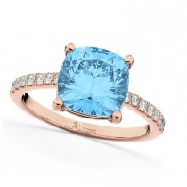Cushion Cut Blue Topaz & Diamond Engagement Ring 14k Rose Gold (2.81ct)