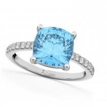 Cushion Cut Blue Topaz & Diamond Engagement Ring 14k White Gold (2.81ct)