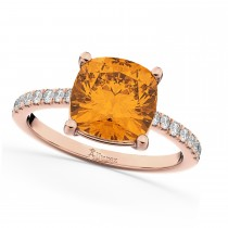 Cushion Cut Citrine & Diamond Engagement Ring 14k Rose Gold (2.81ct)
