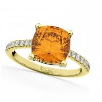 Cushion Cut Citrine & Diamond Engagement Ring 14k Yellow Gold (2.81ct)
