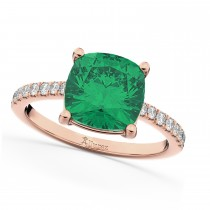 Cushion Cut Emerald & Diamond Engagement Ring 14k Rose Gold (2.81ct)
