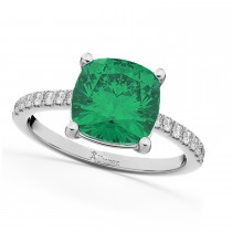 Cushion Cut Emerald & Diamond Engagement Ring 14k White Gold (2.81ct)